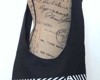 Cross body Bag/ Hobo Bag / Cross body Hobo Bag / Messenger Bag /  Black and white
