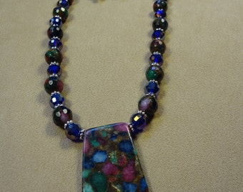 Ruby, sapphire, emerald fused-beads handmade necklace