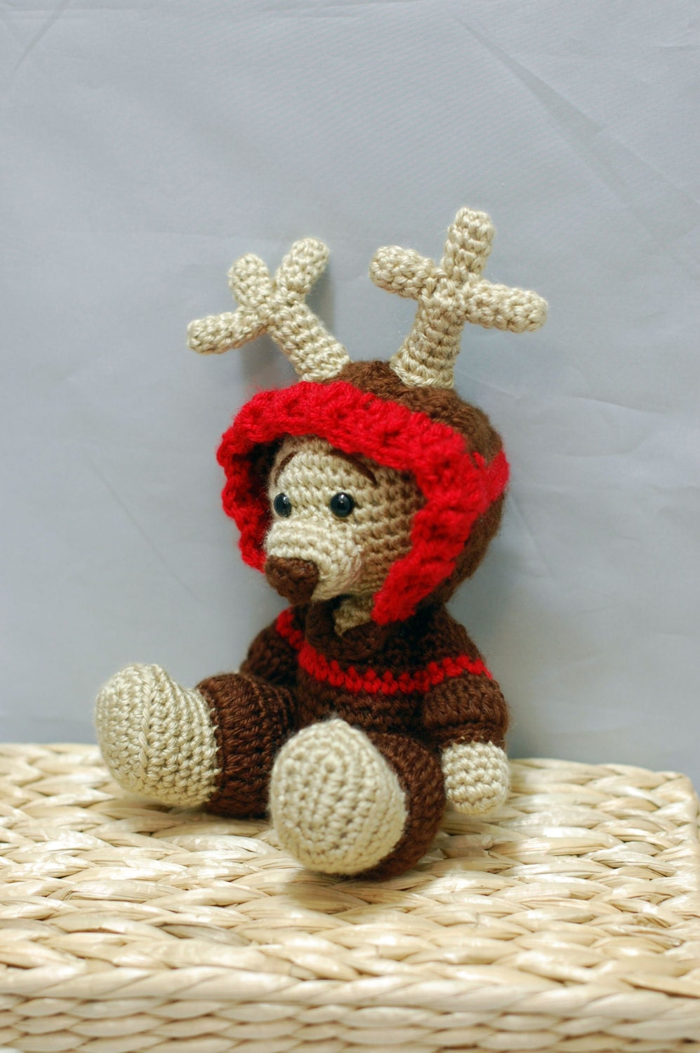 Amigurumi Teddy Bear in a Deer Xmas Costume