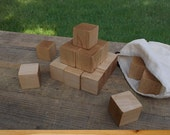 50 Maple Wood Blocks, All Natural Baby blocks, Baby Shower Activity, 1.5 Inch Square Wooden Building Block Set