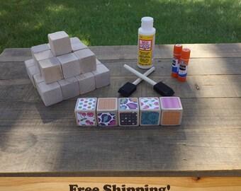26 Baby Girl DIY Wood Blocks Set, 1.5 inch (Maple) by Spud Woodworks