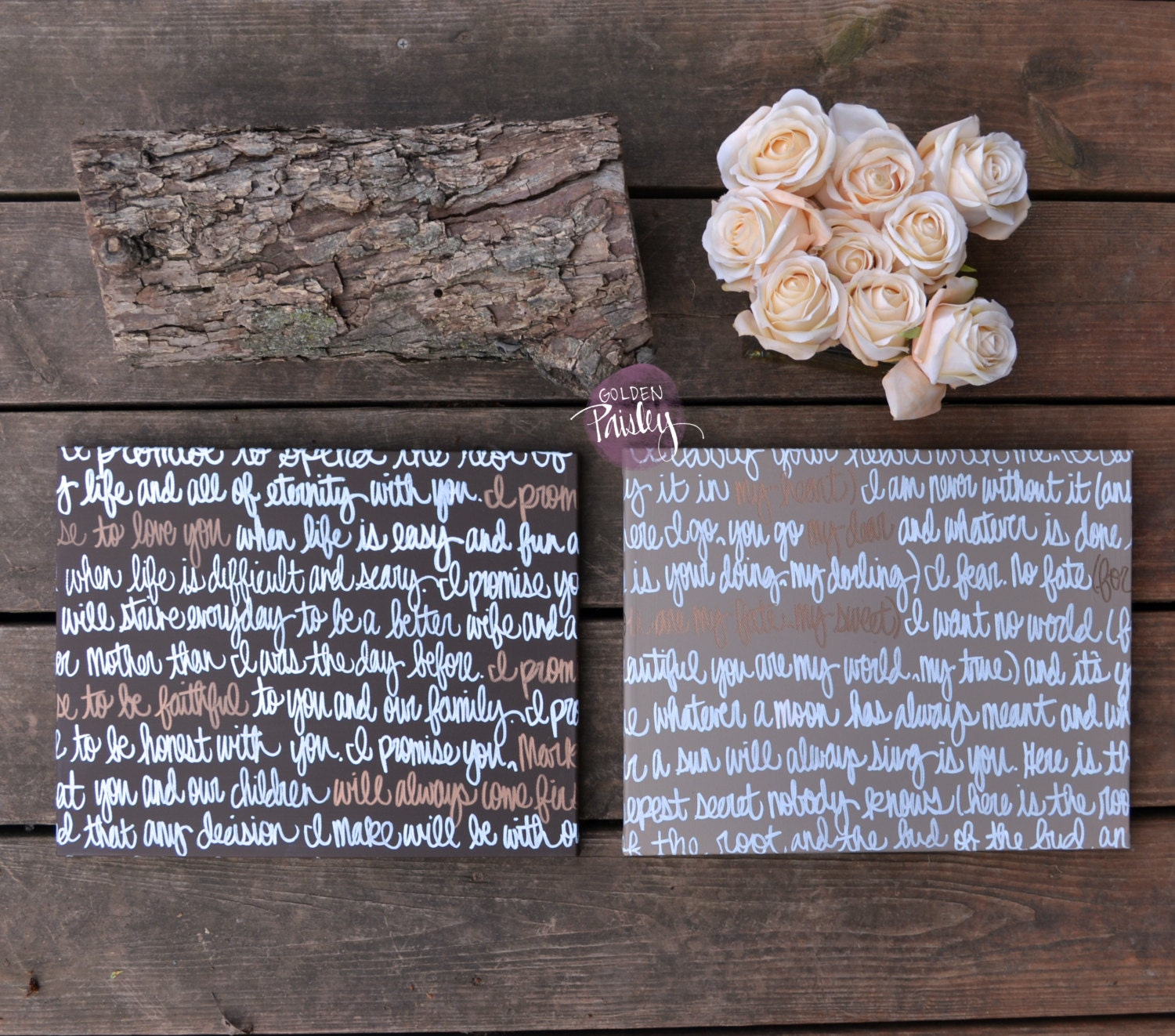 His & Hers Custom Wedding Vow Wall Decor Wall Art Canvases