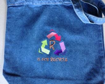 """Recycle tote bag 13"""" x 13"""" tote bag"""