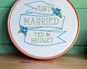 Just Married! Custom Wedding Embroidery Kit