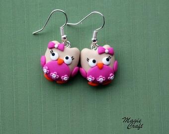 Earrings in Polymer Clay Fimo Gufette, owl, owls, owl earrings