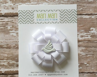 First Communion Dove Hair Bow, First Communion Hair Clip, First Communion Hair Accessory, All White Hair Bow, Dove White Hair Bow, Dove Bow