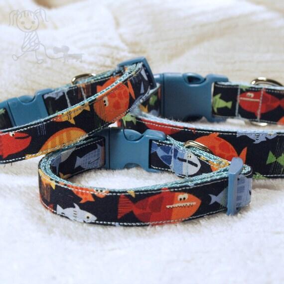 Go fish multicolor fish dog collar 5 8 width for Fish dog collar