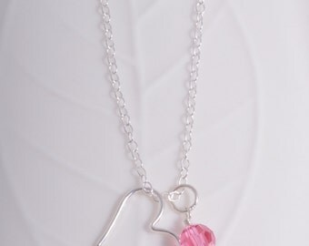Sterling silver open heart and birthstone crystal necklace 925