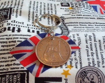 1966 1d 1d Old Penny English Coin Keyring Key Chain Fob Queen Elizabeth II