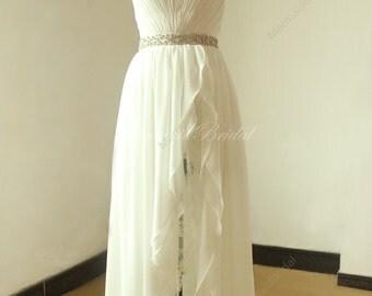 Ivory simple high low chiffon lace wedding dress with elegant beading sash
