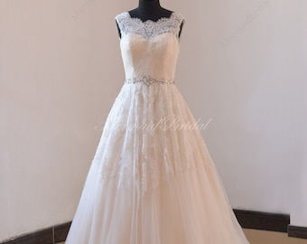 Ivory A line blush pink lining lace wedding dress,bridal gown with illusion neckline