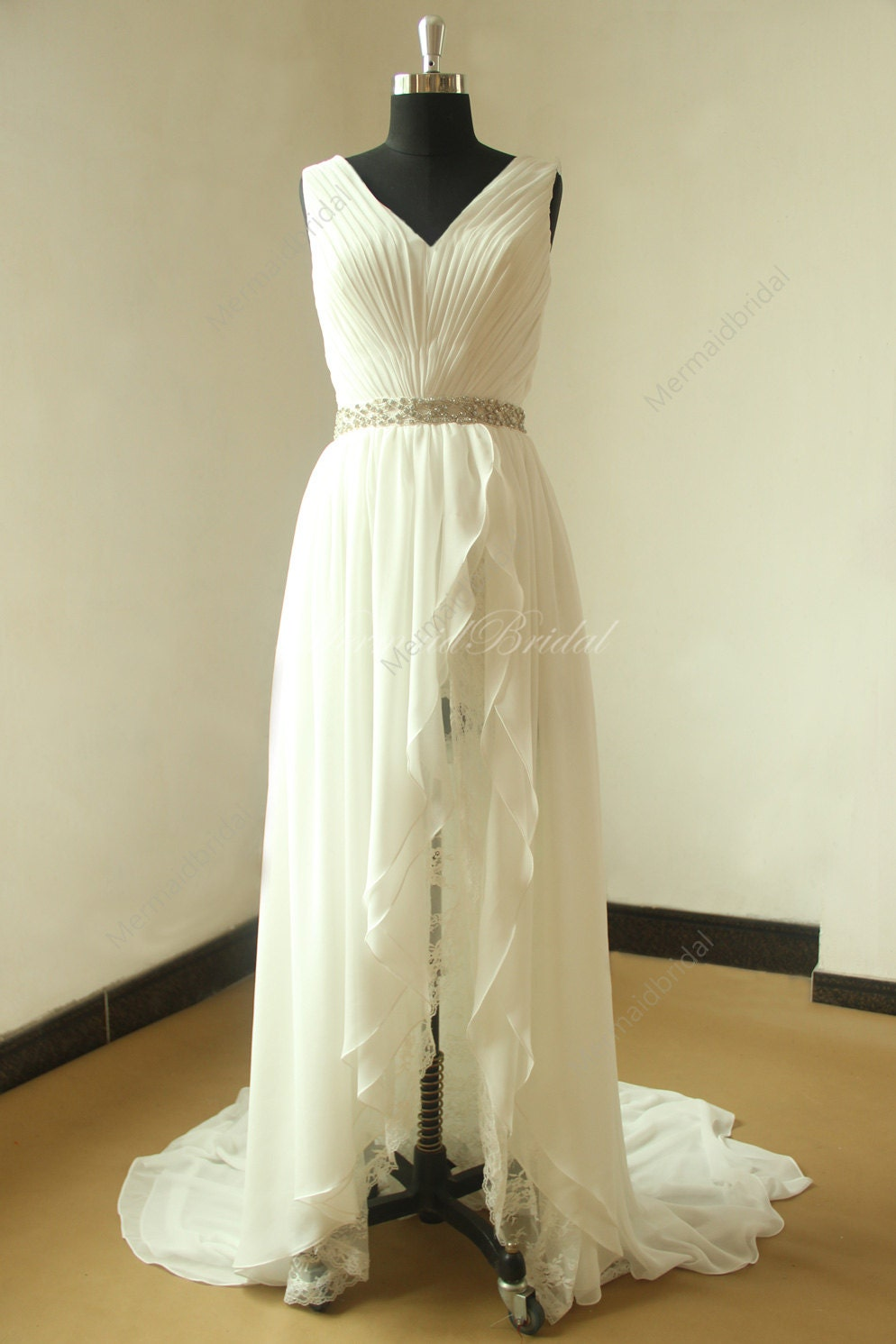 Ivory simple high low chiffon lace wedding dress with elegant for Free wedding dresses low income