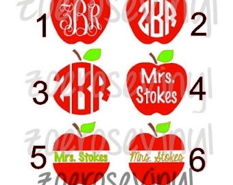 Monogram/Name Apple Teacher Vinyl Decal