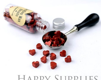 120pcs (SW04-H)  Shimmering Wine Red Sealing Wax Heart Beads in Bottle for Wax Seal Staack, Spoon & Candle Available