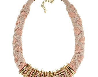 Braided pink necklace, statement necklace, thread necklace with metallic tubes and beads