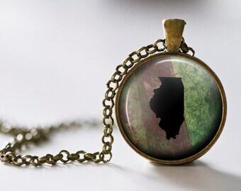Illinois Pendant Necklace - Illinois Jewelry - State Pendant - State Necklace - State Jewelry