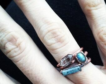 Aquamarine crystal bar ring   Raw aquamarine ring   March birthstone ring   Raw stone ring   Raw gemstone ring   Aquamarine raw crystal ring
