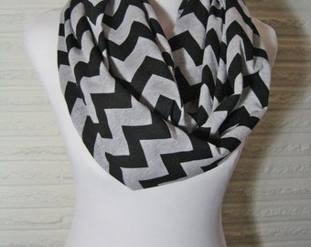 LONG Black and Heather Grey Gray Chevron Infinity Scarf - Chevron Scarf