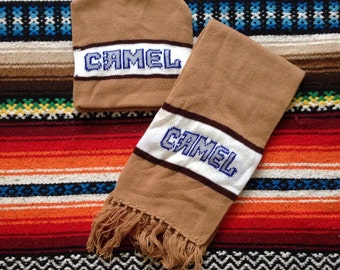 Vintage 70s Camel Cigarettes Knit Beanie / Ski Hat and Scarf Set