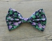 Flower Bow, Flower Hair Bow, Floral Bow, Flower Tie, Bow Tie, Navy Purple Bow, Bowtie, Hairbow, Mens Bow Tie, Hair Accessories