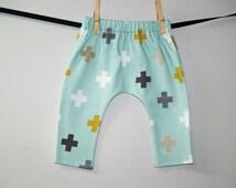 Mint Plus Signs Baby Leggings, Plus Leggings, Newborn Leggings, Tribal Baby Leggings, Going Home Pants, Cross Toddler Leggings