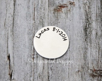 Name And Date Locket Plate / Floating Locket Plate / Mom Locket Plate / New Mom Necklace