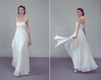 Perla two-piece wedding dress ensemble lace top chiffon skirt