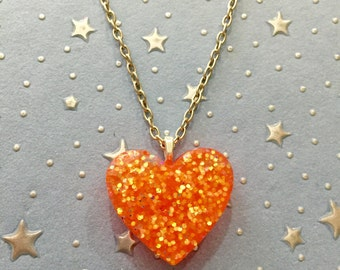 Resin Goldfish Heart Necklace - Orange Resin Pendant with Long Lobster Clasp Chain