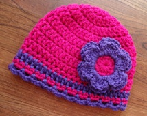 Crocheted Baby Girl/Little Girl Hat with Flower - Dark Pink & Violet Purple with a Ruffled Edge - Newborn to 5T - MADE TO ORDER