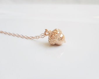 Tiny Rose Gold Acorn Necklace On Rose Gold Filled Chain Minimalist Acorn Necklace Rose Gold Layering Necklace Best Seller! FREE US Ship