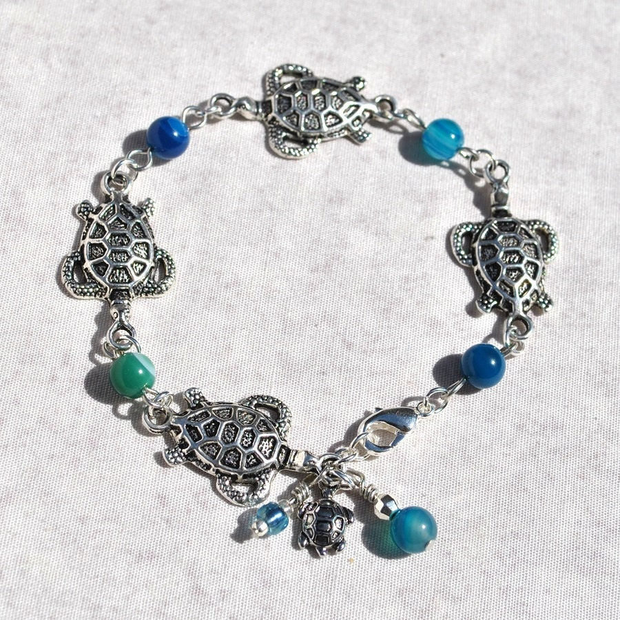 turtle charm bracelet with agate coastal by
