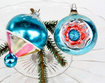 Vintage 40's Glass Tree Ornaments- Set of Two