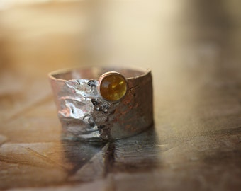 Sterling Silver Reticulated Overlap Ring Set With Amber Stone