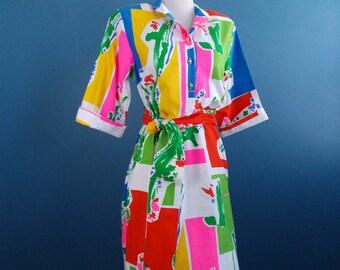 1980's Bright Print Shirt Dress size Medium to Large