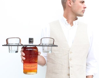 Bouteille de whisky cadeau personnalisé de garçons d'honneur + verre Carrier Set (verres inclus)