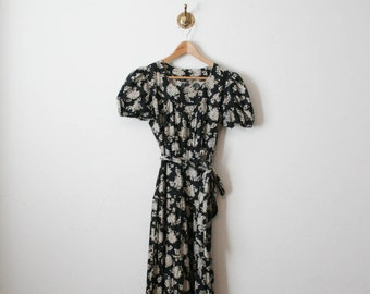 vintage black floral long maxi dress