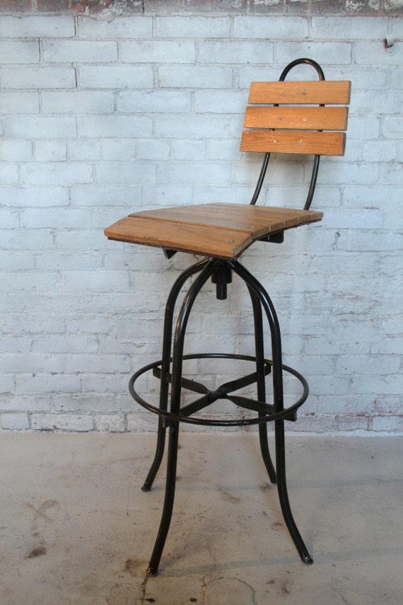 Build A Wooden Bar Stool ~ Commercial bar stool handmade oak wood hand forged steel