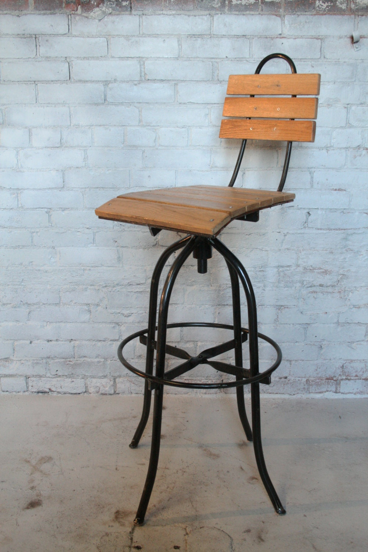 Commercial bar stool handmade oak wood hand forged steel