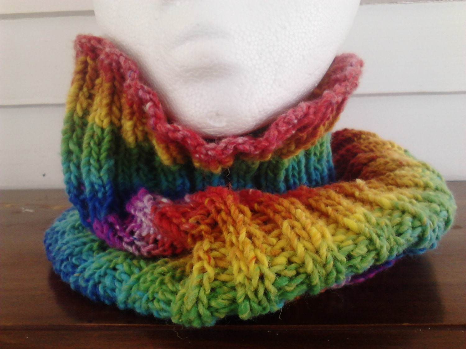 Rainbow Cowl Knitting Pattern : Cowl Rainbow Cowl Striped Cowl Neckwarmer Knit by LittleMoonCrafts