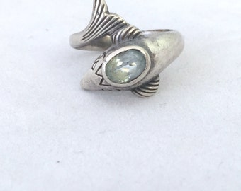 Sterling Silver Dolphin Ring Light Blue Topaz Stone Fish Porpoise Size 8 1/2, Blue Birthstone Ring, Water Mammal Ring, Fish Ring Light Blue