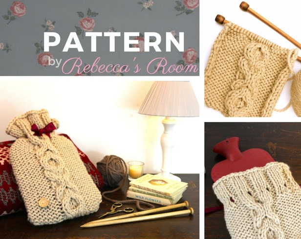 XOXO Hot water bottle cover or cosy KNITTING PATTERN warm