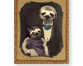 """Anthropomorphic Sloth Animal Art, Mixed Media Collage Art, Father Daughter, Victorian, Digital Art, 8 x 10 """"Owen Smiley and Beatrice"""""""