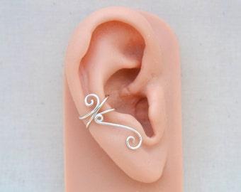 Silver Ear Cuff, No Piercing Ear Wrap, Minimalist Swirly Jewelry