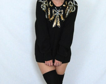 80s Glitzy Black and Gold Sequin Bow Sweater Size Large