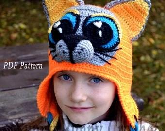 Crochet Hat pattern, Crochet Pattern, Child Animal Hat, Cat hat Pattern, Child hat Pattern, Animal hat pattern, fall, winter, kid,girl, baby