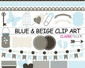 "Digital ""BLUE & BEIGE CLIPART"" frames, ribbons, borders, flags, arrows, butterfly, lights, hearts, mason jar, key, bird cage, baby shower"