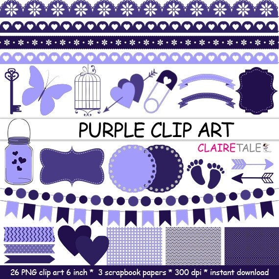 "Digital ""PURPLE CLIP ART"" frames, labels, ribbons, borders, flags, arrows, butterfly, lights, hearts, mason jar, key, bird cage, baby shower"