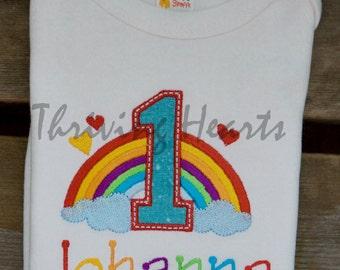 Personalized Rainbow baby first birthday onesie