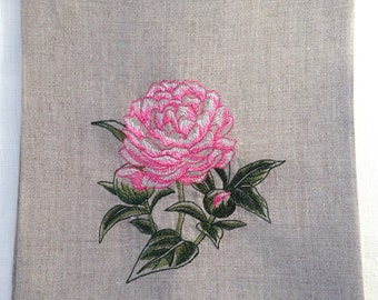 Embroidered Tea Towel, Guest Towel or Hand Towel.  Pink Peony.  Hostess Gift.   Home deor.  Beach decor