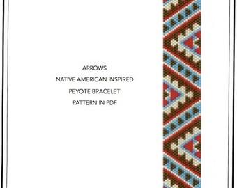 Pattern, peyote bracelet - Native American Navajo inspired peyote bracelet cuff pattern PDF - instant download